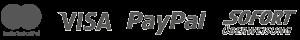 Mastercard, Visa, Paypal, Sofortüberweisung