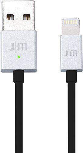 AluCable LED Lightning-Kabel 1m Silber/Schwarz