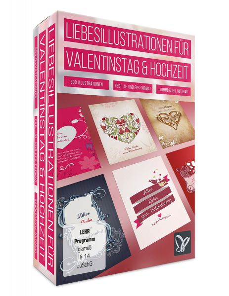 Liebesillustrationen für Valentinstag und Hochzeit