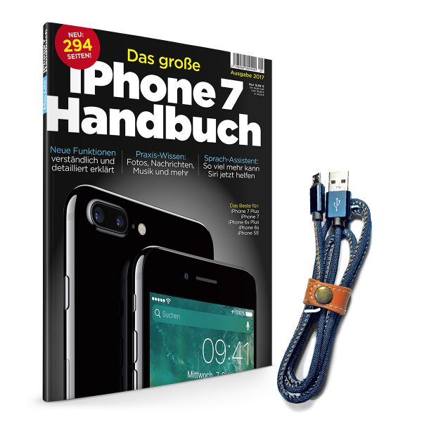 "iPhone 7 Handbuch + ""Jeans""-Lightningkabel"